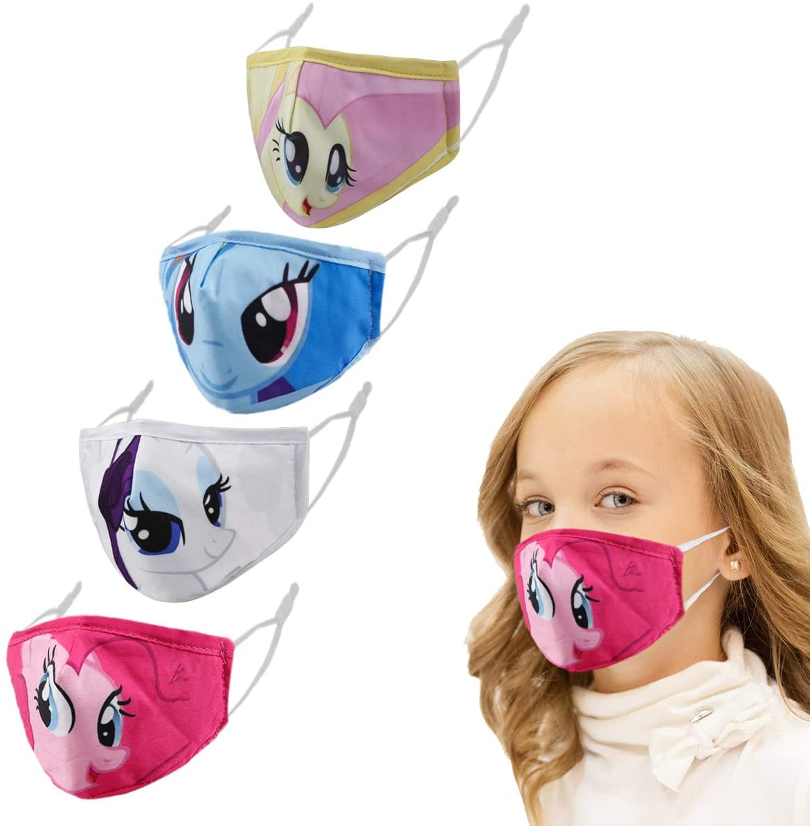 Woplagyreat 4 Pcs Face Cloth Masks for Kids, Comfortable Protective Cute Masks, Reusable & Washable