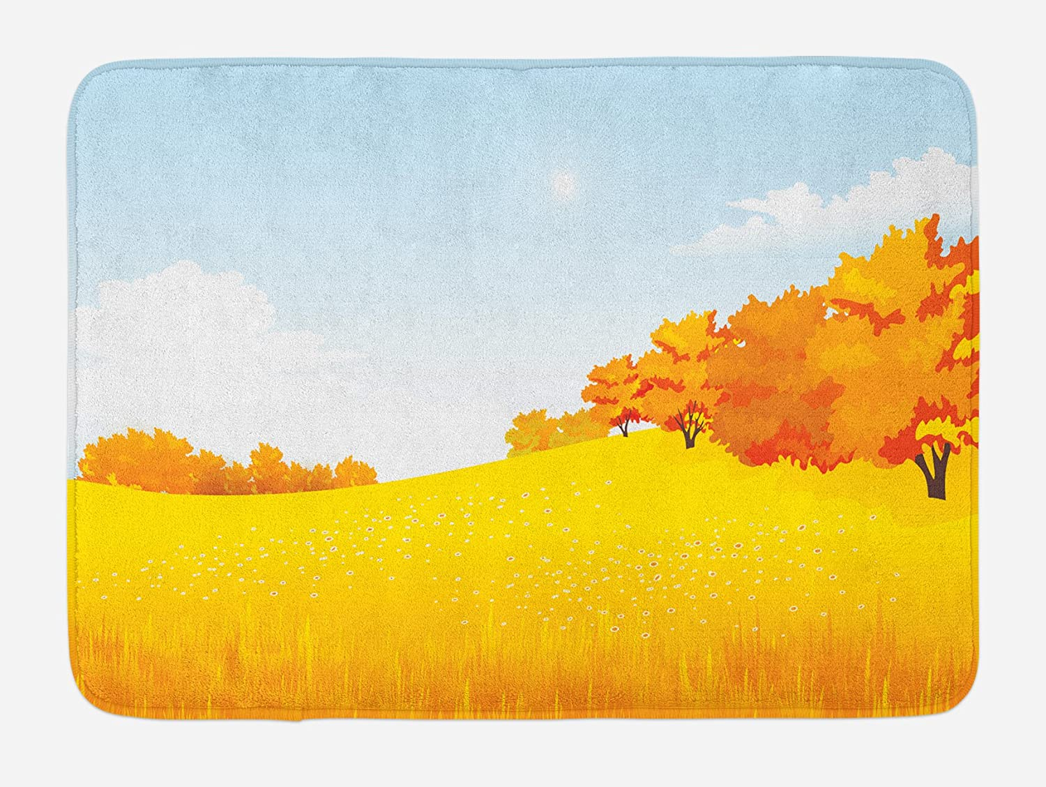 Lunarable Nature Bath Mat, Autumn Meadow Forest with Faded Tree Leaves Fall Season Serene Artwork, Plush Bathroom Decor Mat with Non Slip Backing, 29.5