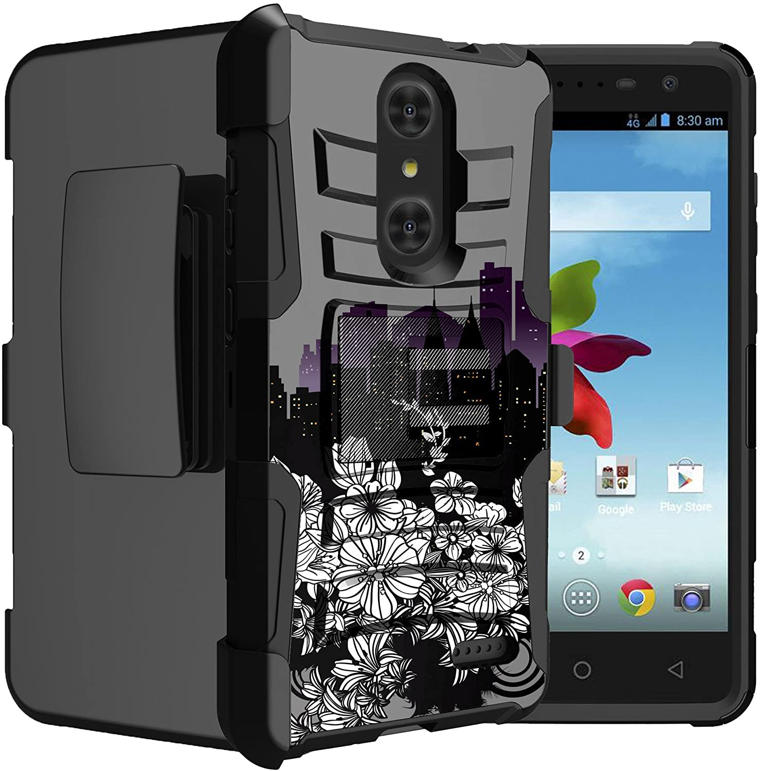 Untouchble Case for ZTE Zmax Pro, ZTE Blade X Max, ZTE Carry Case [Heavy Duty Clip] Shockproof Holster Case with Kickstand and Hybrid Case for Ultimate Protecton - City Flowers