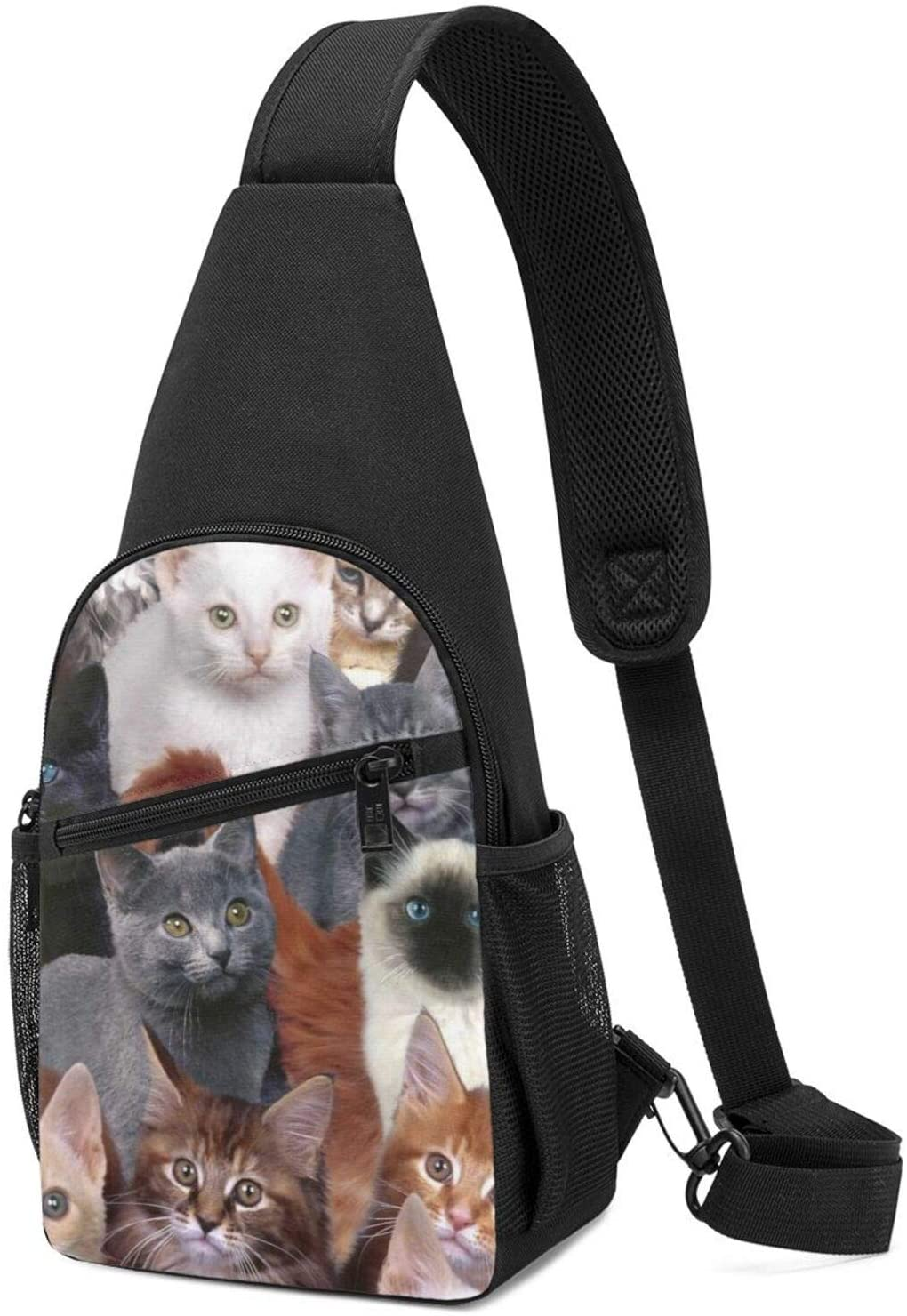 NiYoung Student Sling Bag Premium Cat Kitten Lovely Crossbody Bags Casual Chest Crossbody Anti-Theft Sling Bag Chest for Cycling, Running, Bicycle