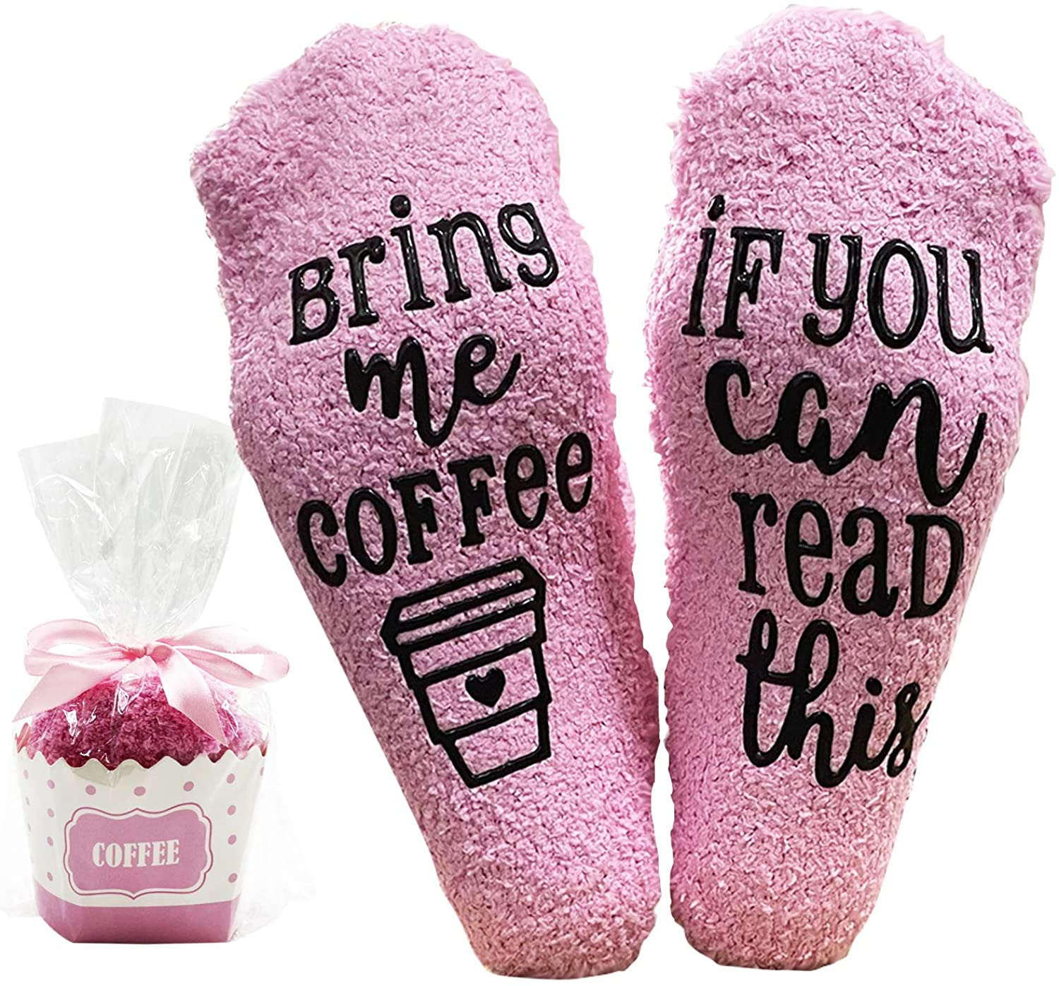 Sportsvoutdoors If You Can Read This Bring Me Coffee Socks, Novelty Fuzzy Socks with Cupcake Packaging, Birthday Party Idea Accessories for Women Mother Wife