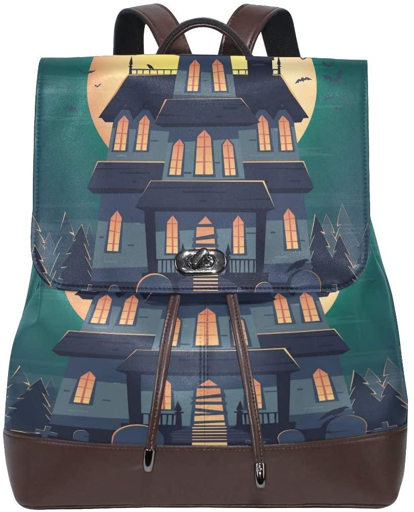 Halloween Castle Bats Moon Women's Genuine Leather Backpack Bookbag School Purse Shoulder Bag
