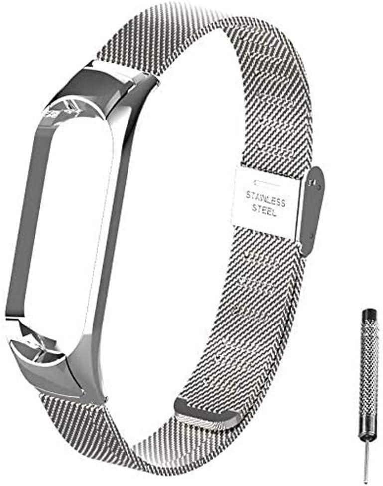 OLLIVAN for Xiaomi Mi Band 5 Strap, Mi Band 5 Metal Wristbands, Replacement Straps Bracelet Spare Wristband Accessories Adjustable Wrist Straps for Xiaomi Mi Band 5 (No Tracker) (Buckle Silver)