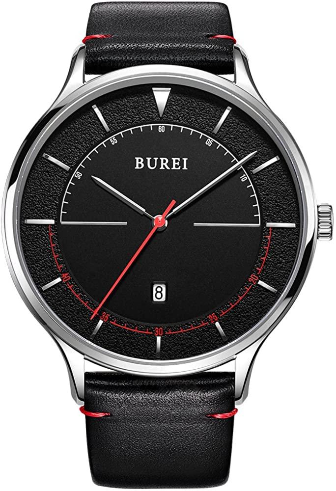 BUREI Men Quartz Slim Minimalist Designer Watches with Date Mineral Crystal Leather Strap