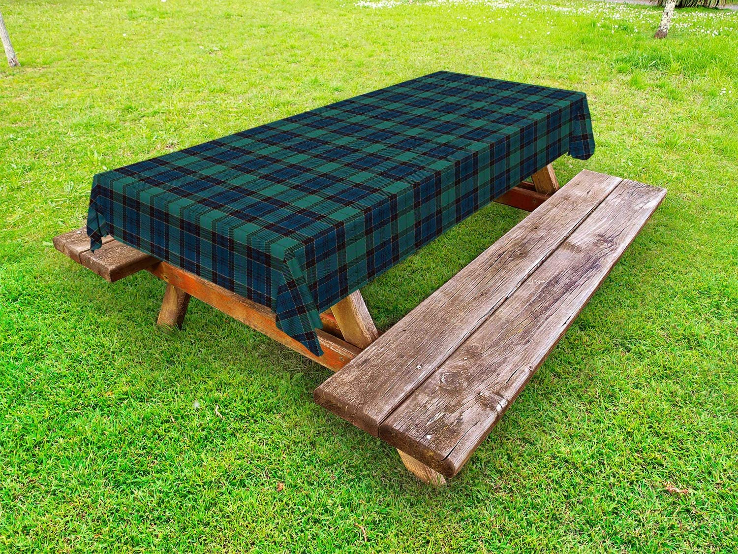 Ambesonne Tartan Outdoor Tablecloth, Traditional Quilt Design Scottish Folklore Elements Plaid Pattern, Decorative Washable Picnic Table Cloth, 58