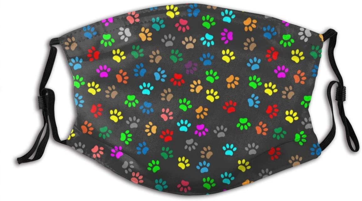 Color Dog Paw Adult Adjustable Dust Cotton Anti Air Dust Cover Unisex Mouth Cover Reusable Cover Bandana with Filter