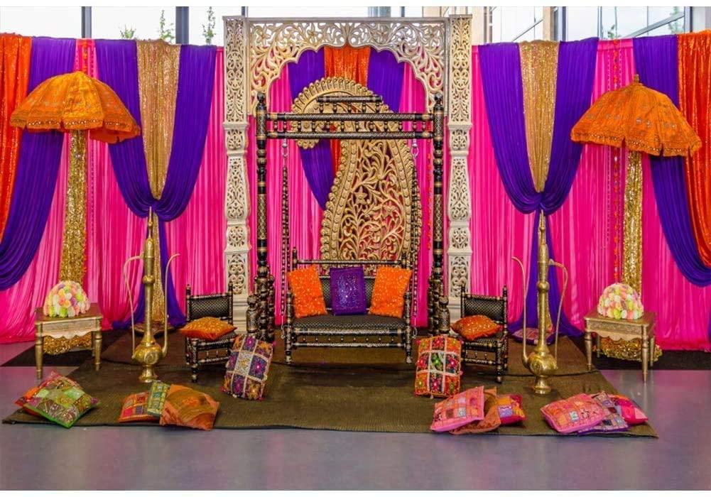 OERJU 9x6ft Wedding Backdrop Bohemian Style Wedding Ceremony Background for Photography Bridal Shower Decor Banner Moroccan Theme Wedding Photo Background