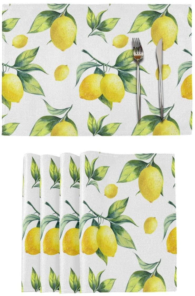 Qilmy Lemon Placemats Non-Slip Heat Resistant Washable Table Mats for Kitchen Dining Table Decor 12