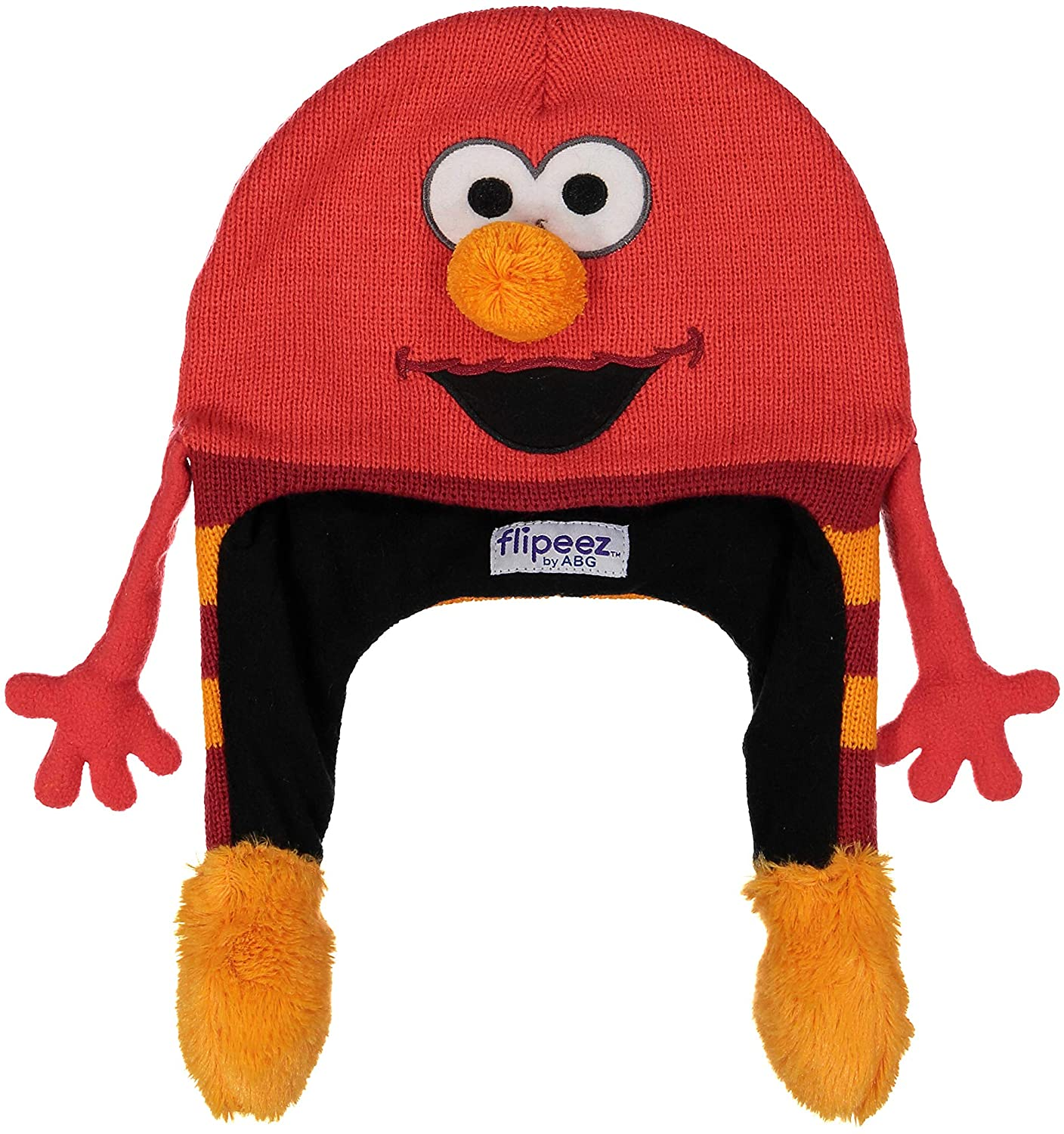 Sesame Street Winter Hat, Elmo Squeeze and Flap Fun Cold Weather Beanie for Kids, Red, Little BOY Age 4-7