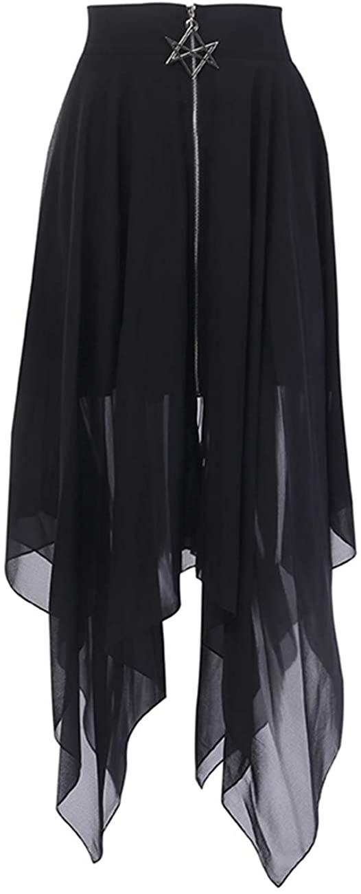TOMETO STAR Women Mesh Irregular Skirts Pentagram Zipper Punk Gothic Darkness Lady Skirt Casual Loose Club Skirts