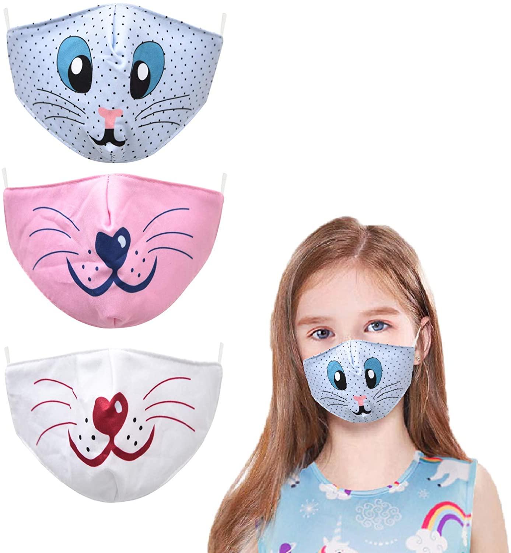 YUESUO 3 PCS Face Cloth Mask Adjustable Reusability for Kids Boy Girl