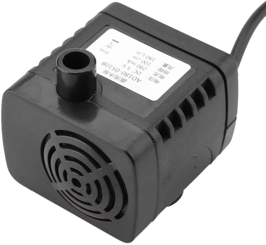 USB Submersible Water Pump, DC 5V 1.5W Brushless Submersible Water Pump, 180L/h Aquarium Fish Tank Fountain Water Circulation Immersible Pump