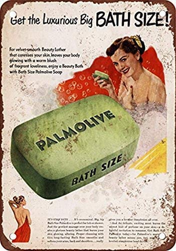 2 Pack 1950 Palmolive Bath Soap Vintage Look Reproduction Metal Tin Sign 8X12 Inches