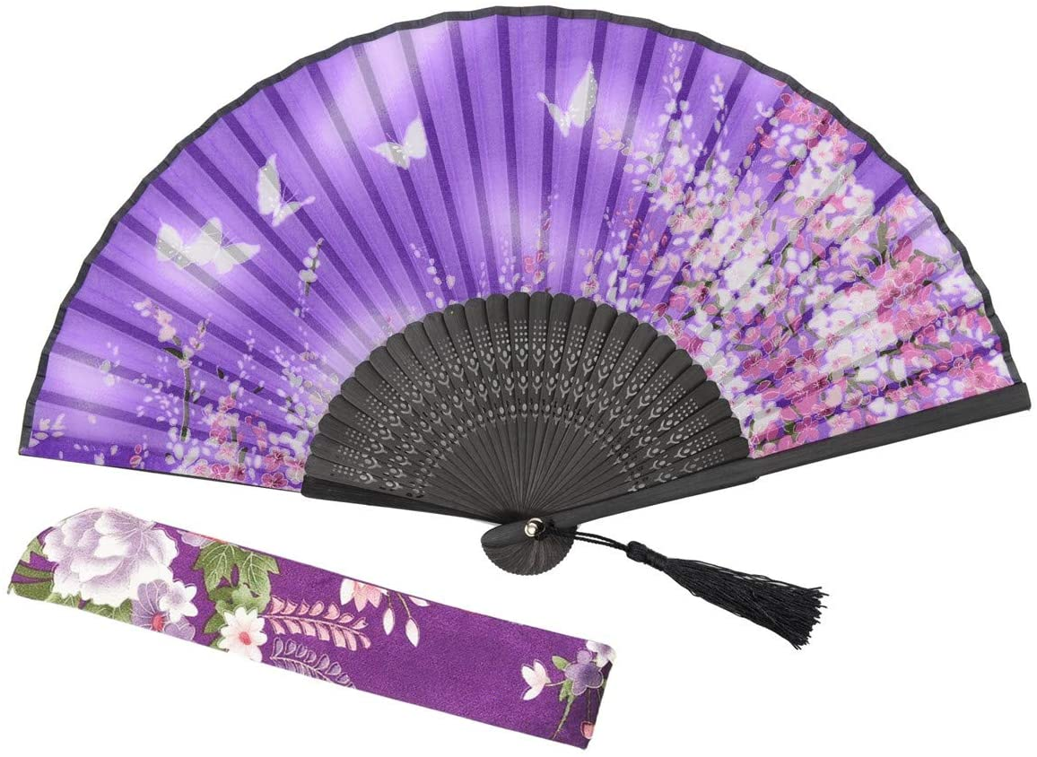 """Lysa Women Hand Held Silk Folding Fan with Bamboo Frame - Silk Tissue Protective Sleeve - Chinese/Japanese Style of """"Sakura Butterfly Love"""" Pattern 8.27"""