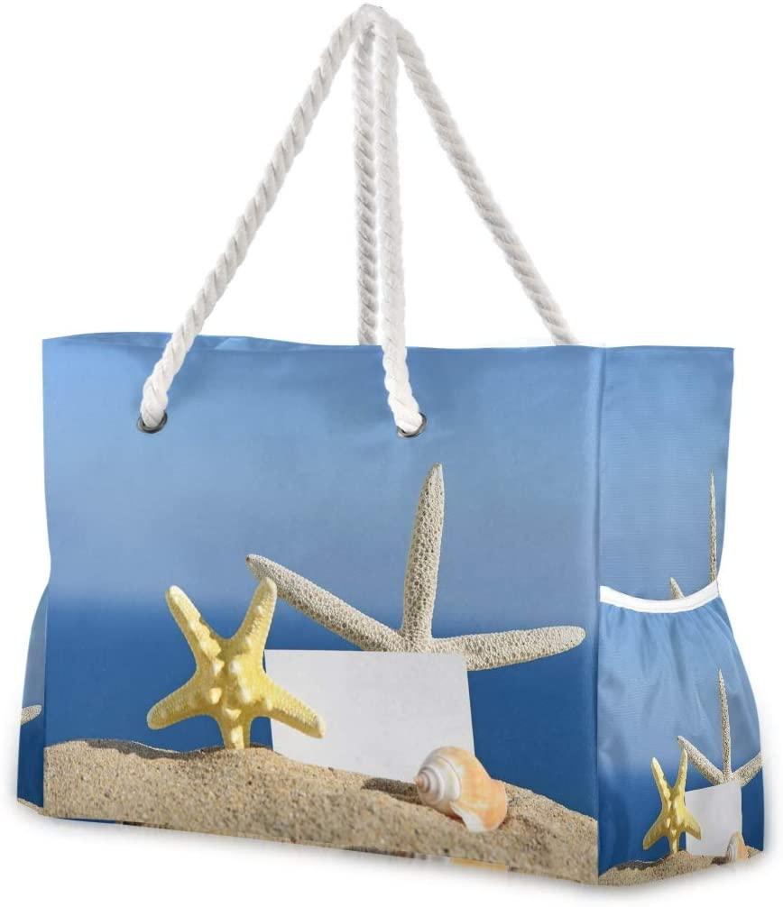 Beach Bag Large Travel Tote Bag Seashells Starfish Blank Shoulder Bag luggage bag for Gym Travel Sport