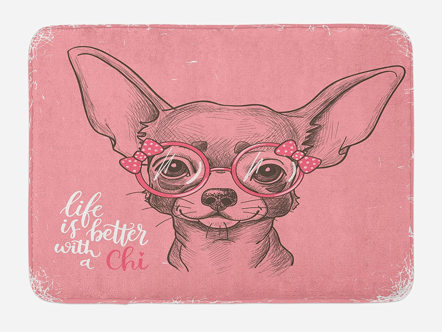 Ambesonne Dog Bath Mat, Girl Chihuahua Sketch Illustration with Words Fashion Glasses Ribbons Puppy, Plush Bathroom Decor Mat with Non Slip Backing, 29.5