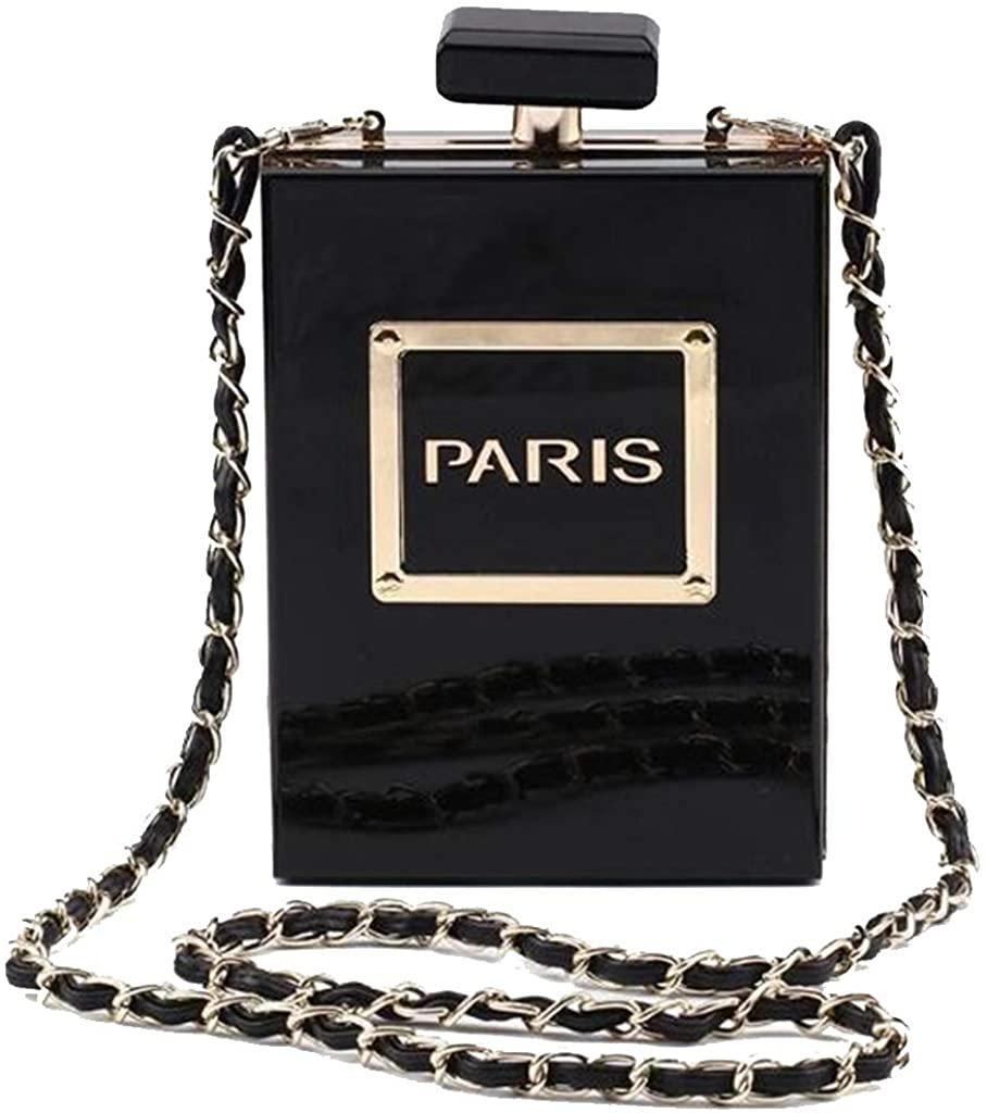 Women Acrylic Gold Paris Perfume Shape Evening Bags Purses Clutch Vintage Banquet Handbag (GOLD))