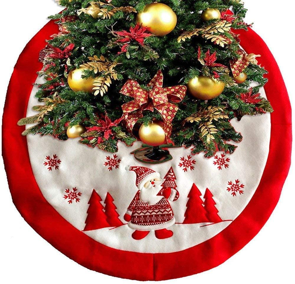 Qinbin Christmas Tree Skirt, Santa Snowman Pattern Christmas Tree Collar Mat Pad for Christmas Holiday Party Indoor Outdoor Decoration