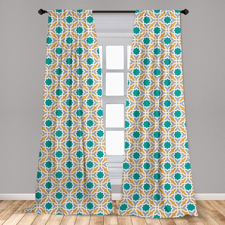 Ambesonne Teal Curtains 2 Panel Set, Abstract Geometric Pattern Eastern Oriental Symmetric Design Print, Lightweight Window Treatment Living Room Bedroom Decor, 56