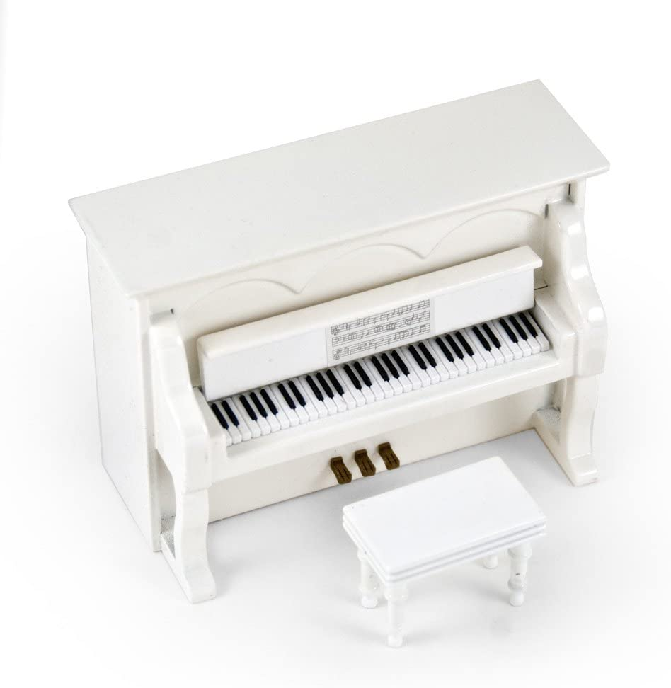 Miniature 18 Note Musical Hi - Many Songs to Choose - Gloss White Upright Piano with Bench Pink Panther