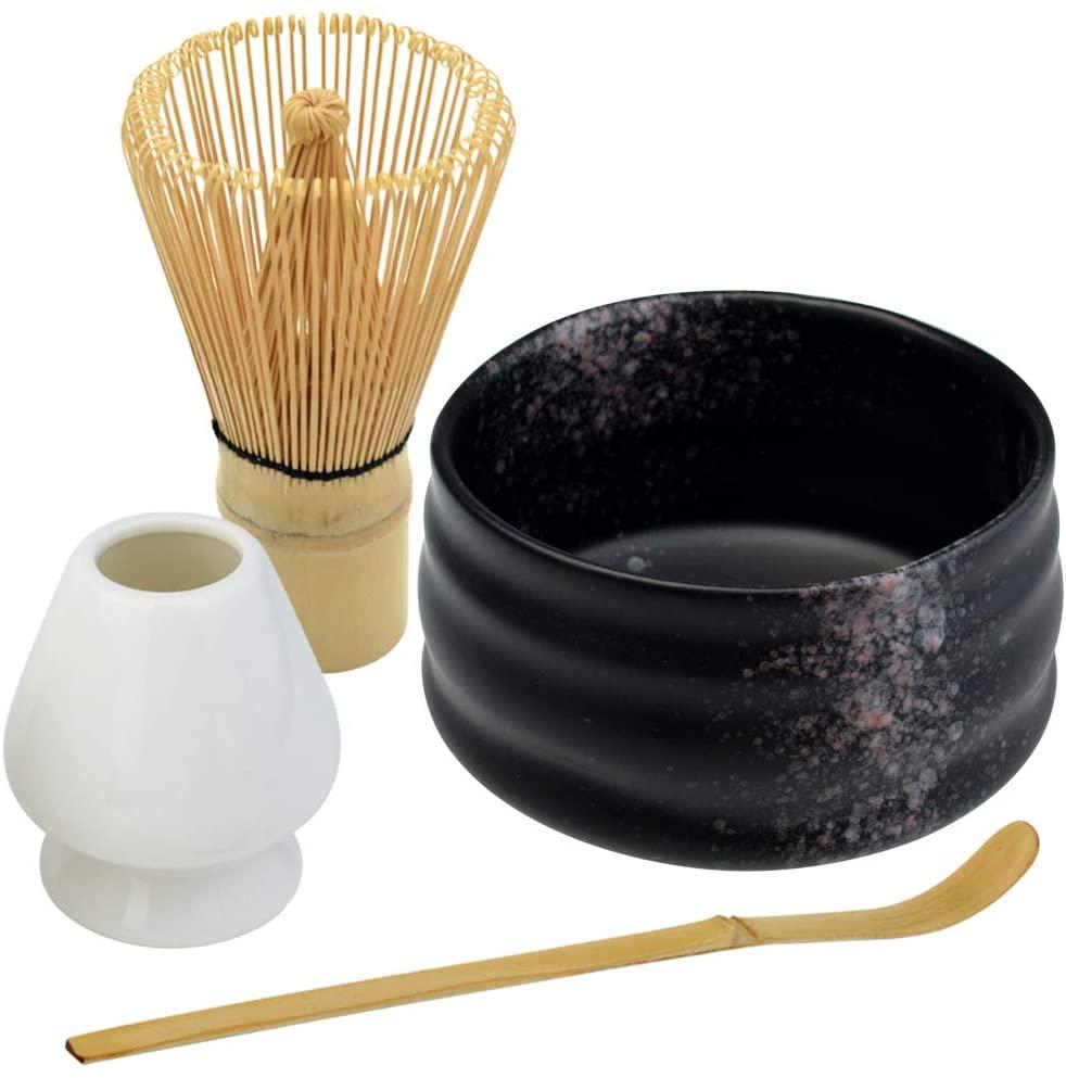 Bskifnn Black Japanese Tea Set 4PC Japanese Matcha Ceremony Accessory,Matcha Whisk,Whisk Holder,Bowl,Tea Spoon Perfect Set to Beginners