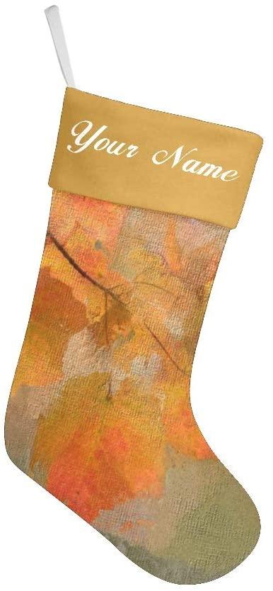 Personalized Custom Name Christmas Stockings for Gift Family Xmas Tree Velvet Decor Autumn Watercolour Leaves 17.52 x 7.87 Inch