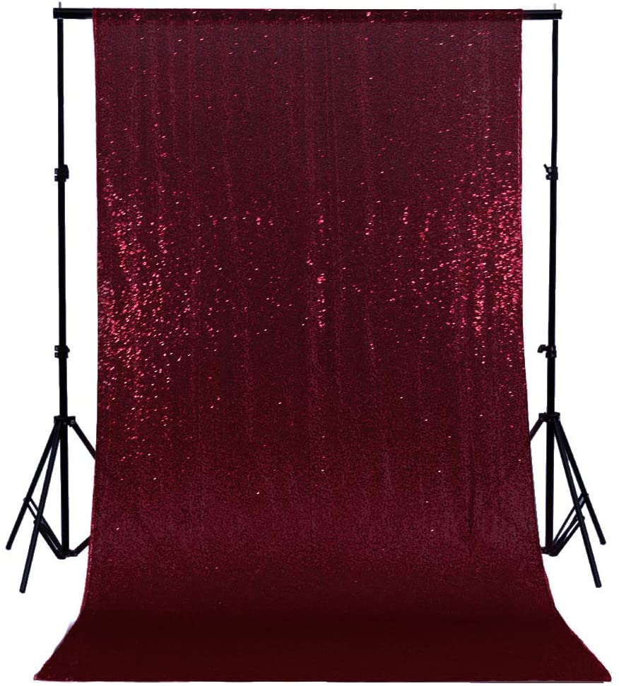 Sequin Curtain Panels 2FTx8FT Wine Sequin Backdrop Curtain Backdrop for Photography Glitter Backdrop Burgundy Fabric Backdrop 96 Inches Shower Curtain Birthday Backdrop Wedding Backdrop