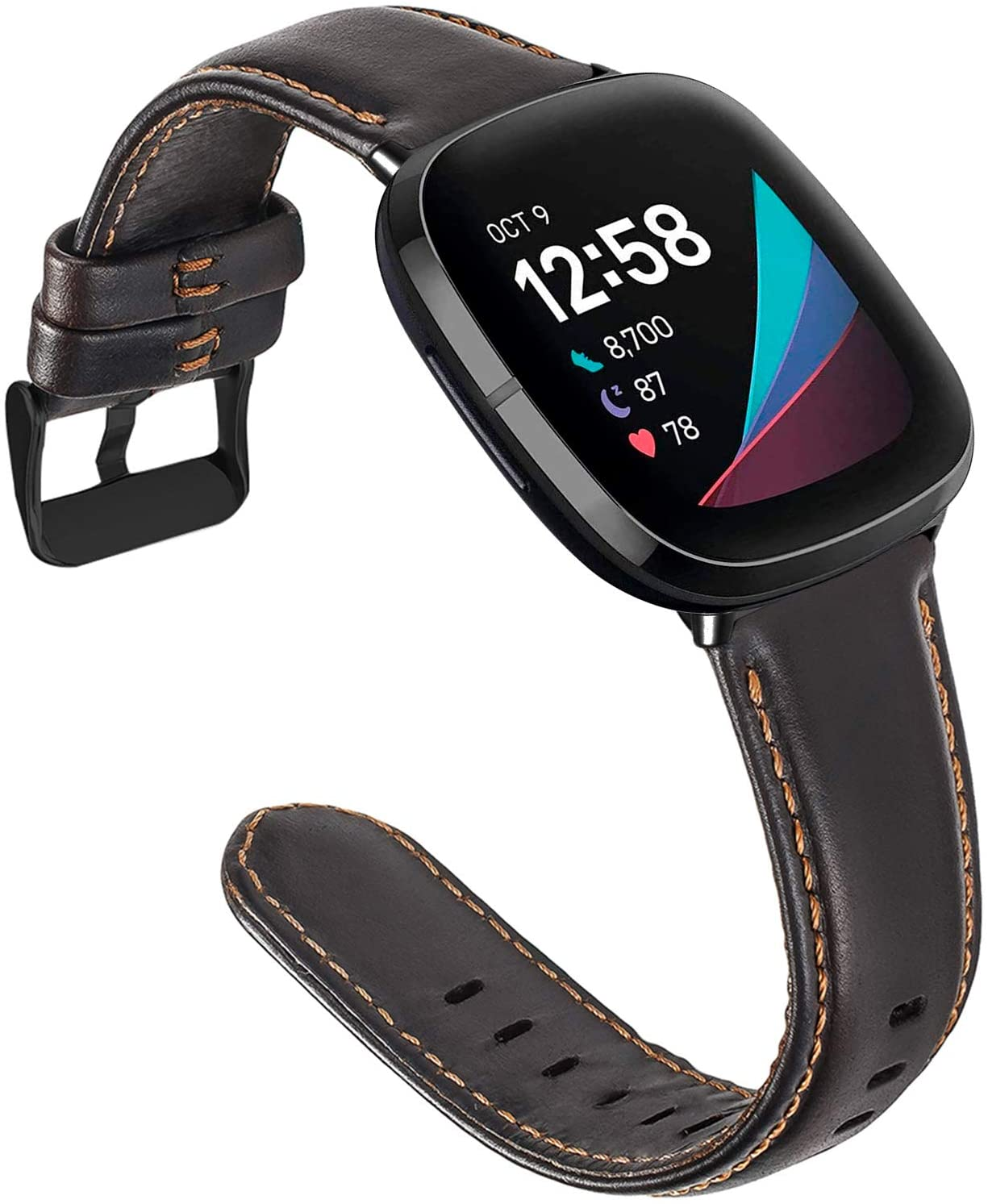 ALADRS Leather Watch Straps Compatible for Fitbit Sense/Versa 3 Smartwatch Band, Coffee