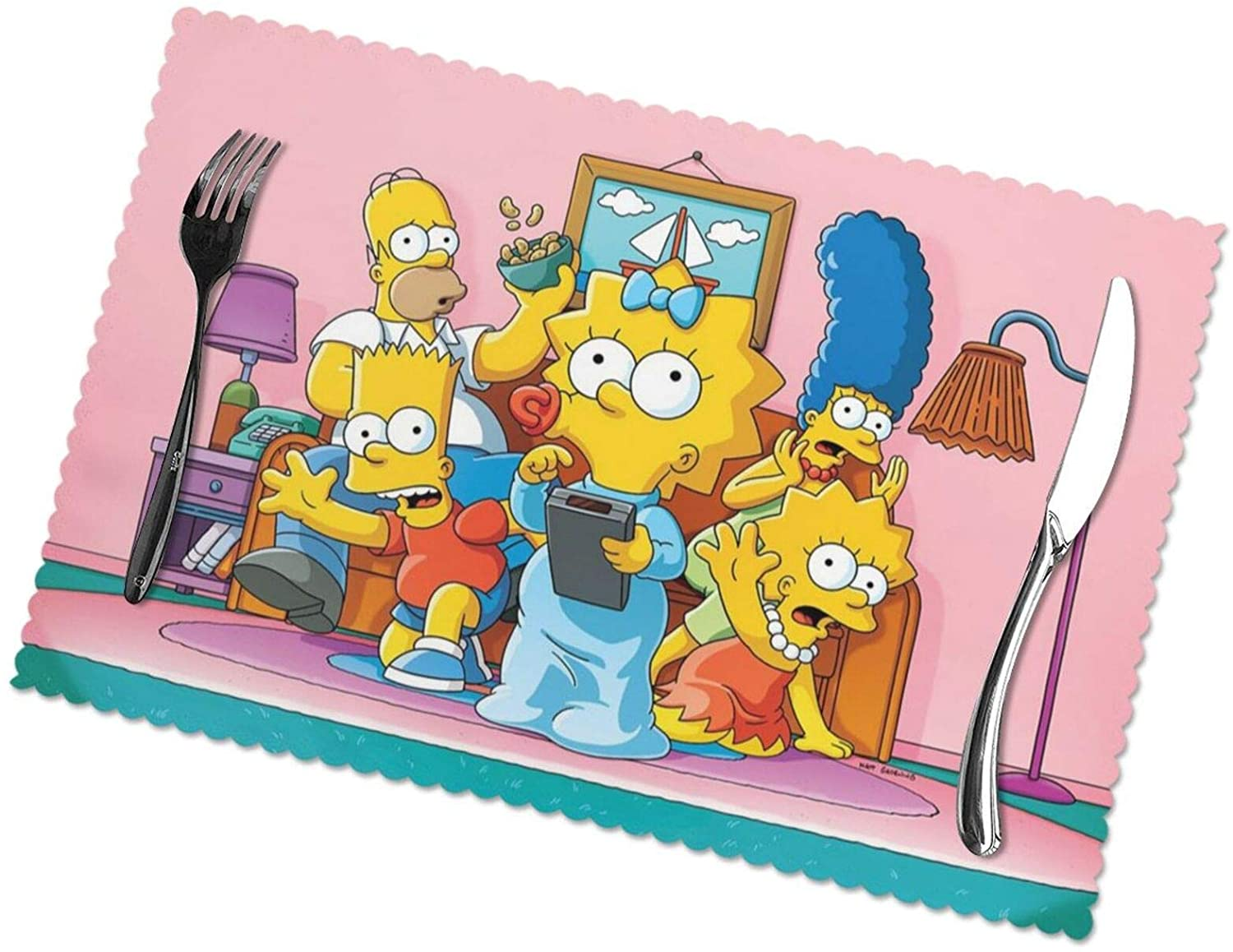 Xutazu The Simpsons Placemats Washable Heat Resistant Non-Slip Table Mats for Kitchen Dining Table(12x18)