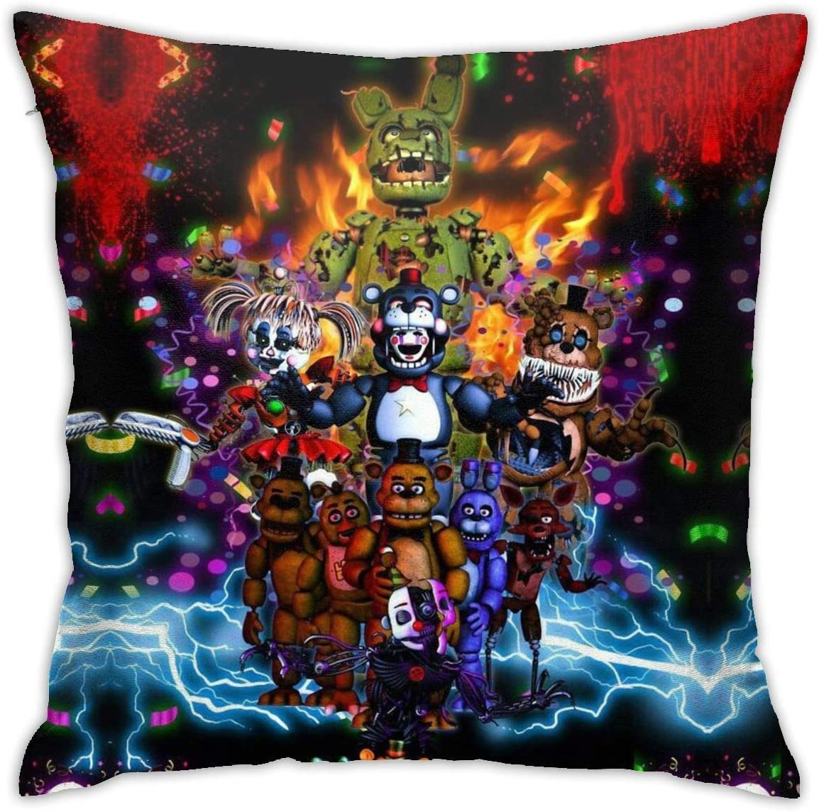 LMHBLTOP Five Nights at Freddy Throw Pillowcase Anime Pillow Cover 18x18 Inches