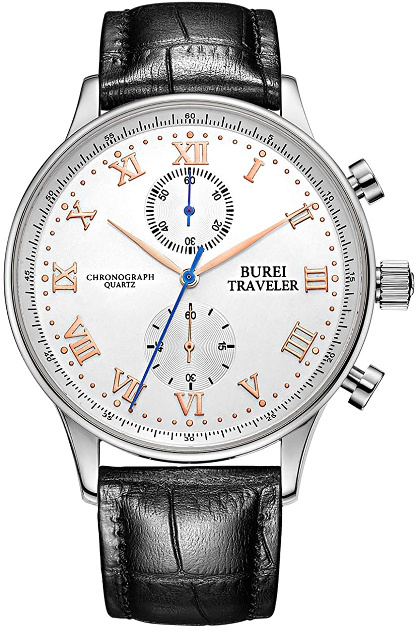 BUREI Mens Chronograph Quartz Watches with Analog Dial Stainless Steel Case Leather Band