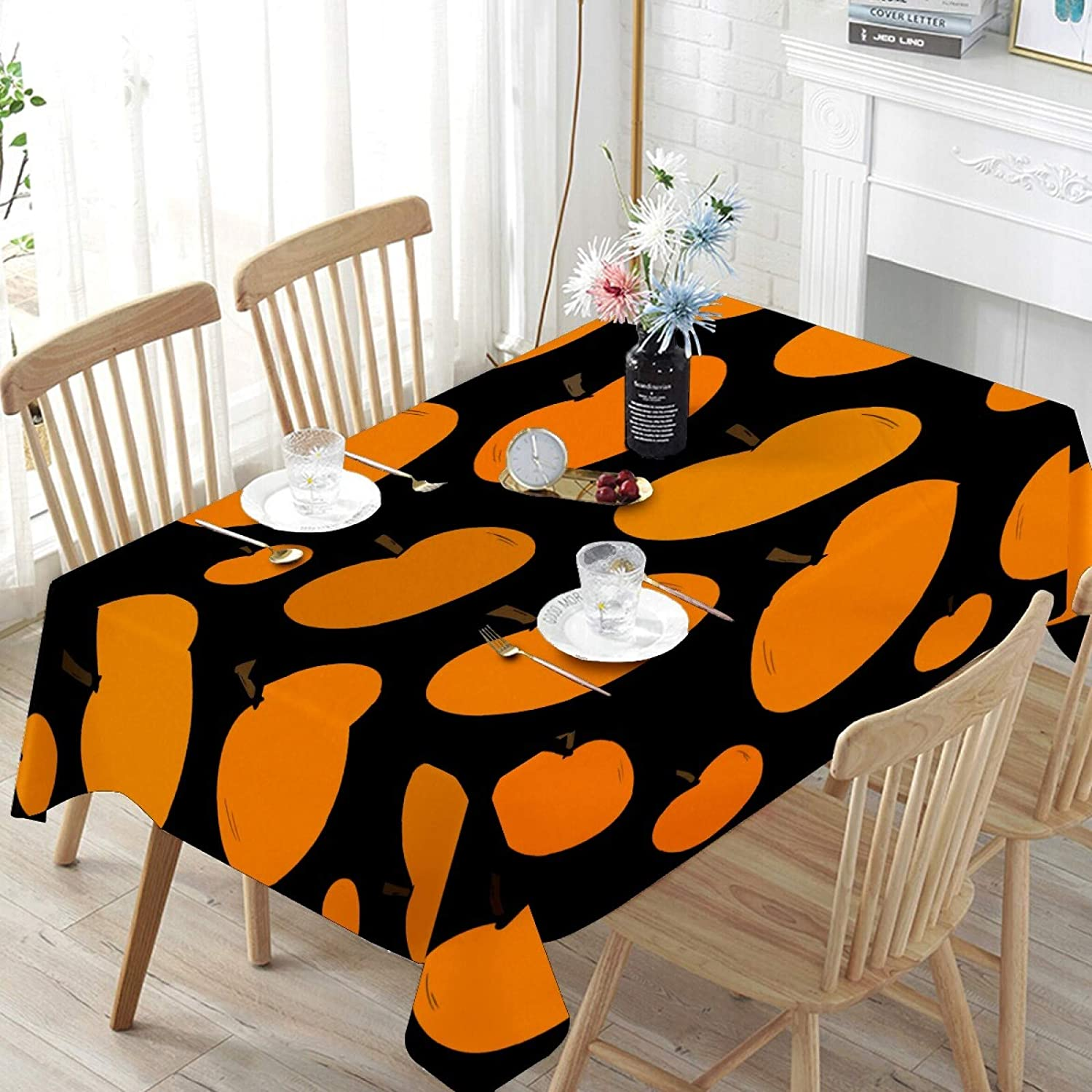 N\O Tablecloth Rectangle - Stain Resistant Pumpkins Halloween Decoration Washable Table Cloth for Outdoor Picnic Holiday Dinner 54 x 54 Inch