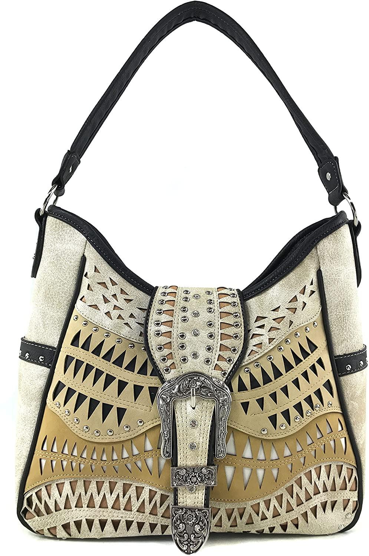 Justin West Studs Laser Cut Triangle Western Rhinestone Buckle Handbag Purse Conceal Carry