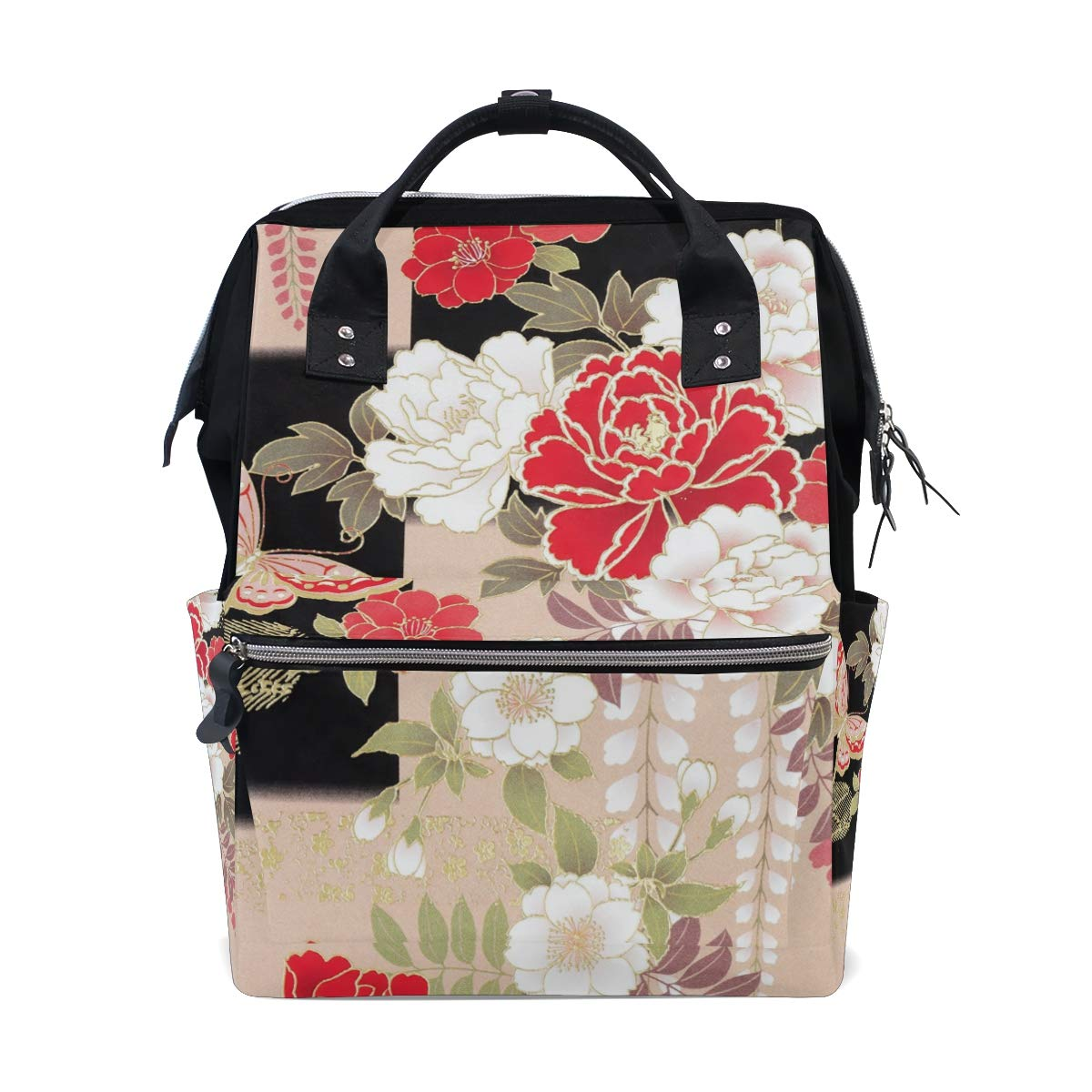MERRYSUGAR Diaper Bag Backpack Travel Bag Large Multifunction Waterproof Japanese Floral Flower Butterfly Stylish and Durable Nappy Bag for Baby Care School Backpack