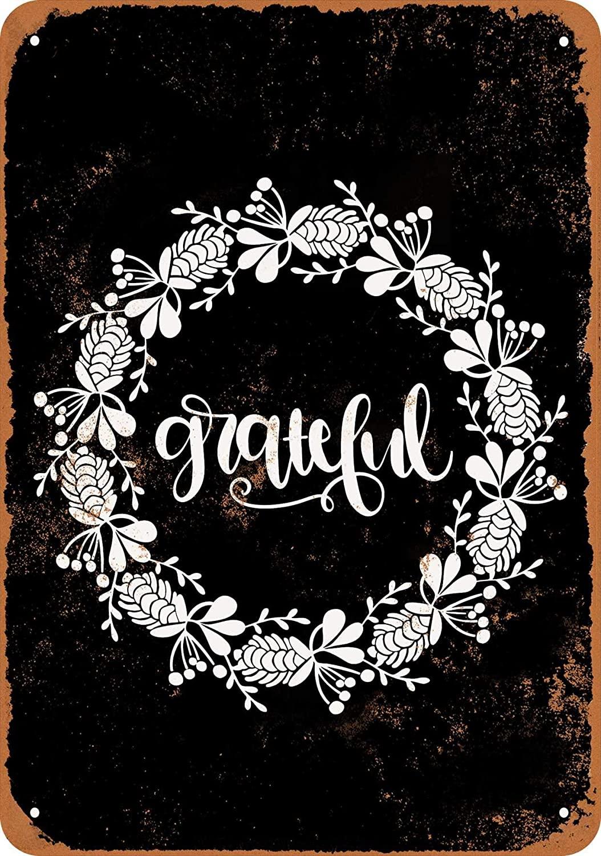 Wall-Color 9 x 12 Metal Sign - Autumn Wreath Grateful (Black Background) - Vintage Look