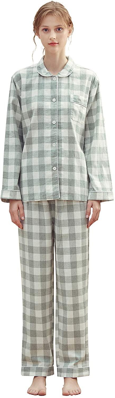 KENMAX Womens Cotton Pajamas Set Long Sleeve Pjs Sleepwear Comfy Soft Loungewear Button Down Nightwear