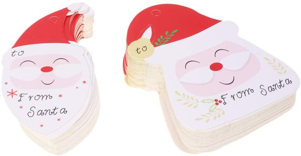 Amosfun 100pcs cute christmas bookmark santa head printing gift tag decor paper hang tag letter card christmas message card with rope