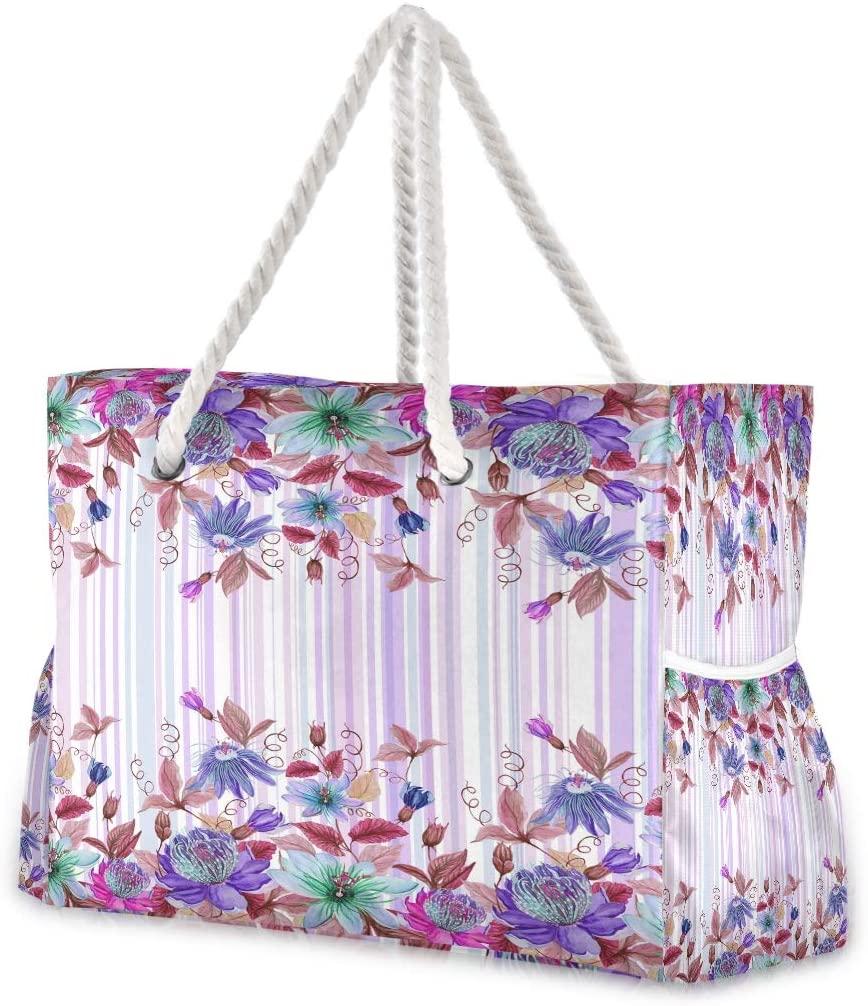 Beach Bag Large Travel Tote Bag Colorful Floral Shoulder Bag luggage bag for Gym Travel Sport