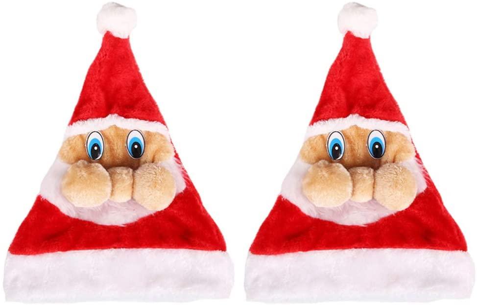 Amosfun 2pcs Novelty Santa Claus Hats Plush Christmas Santa Hats Funny Party Hats