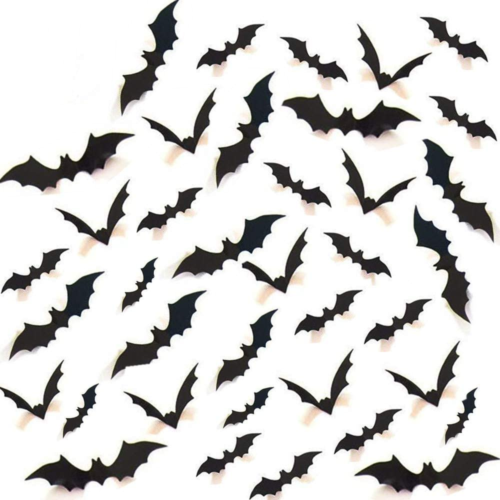 Minelife Halloween 3D Bats, Halloween Decorations Scary Bats, Halloween Party Supplies Decorations Window Decor Scary Bats 3D Wall Decals (Assorted Size) (Black) (120PCS)