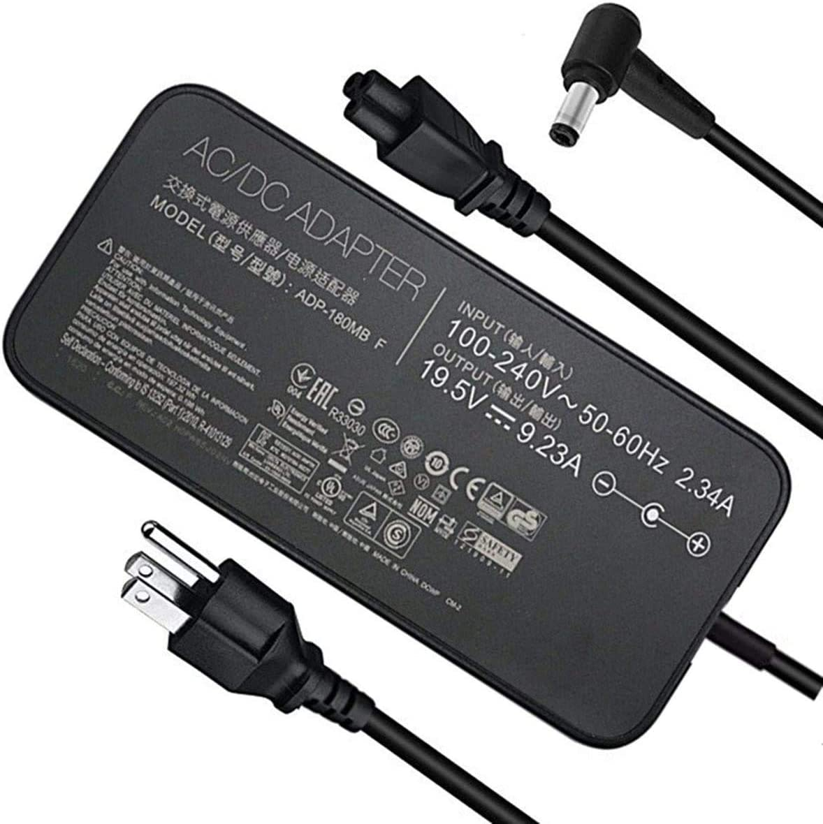 New 19.5V 9.23A 180W AC Charger for ASUS GL703VM,GL503V,GL503VD,GL503VM,FX504GM,G53S,G53SX,G53J,G53JW,G73S ROG G750JW-DB71 G750JW-T4087H ADP-180MB F FA180PM111 Loptop Adapter Power Supply Cord