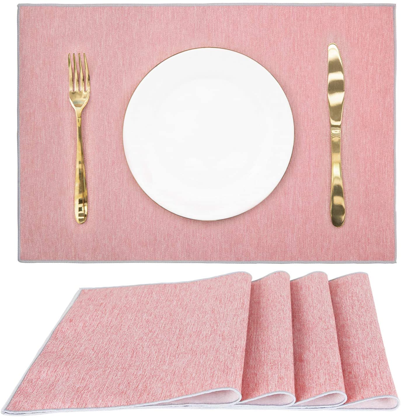CaliTime Placemats 4pcs 12 X 18 Inches Polyester Heat-Resistant Non-Slip Waterproof Plate Cup Mats for Kitchen Dining Table Dusty Pink