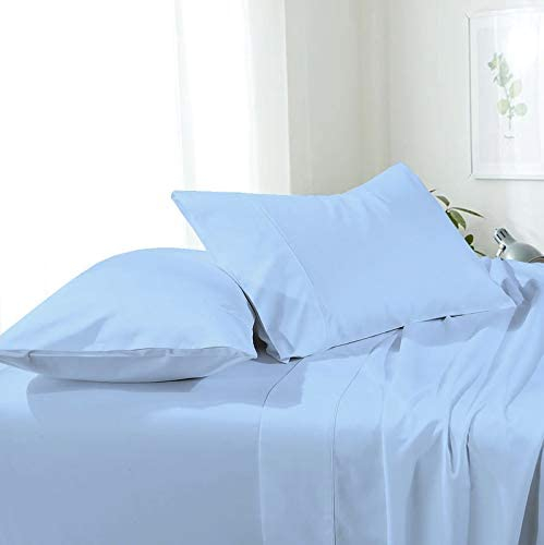 Attached Waterbed Sheets 100% Egyptian Cotton 600 Thread Count Attached Solid Waterbed Sheets California King Size 4 Piece, 15 Inch Deep Poceket Waterbed Sheet Set, Light Blue Solid Color