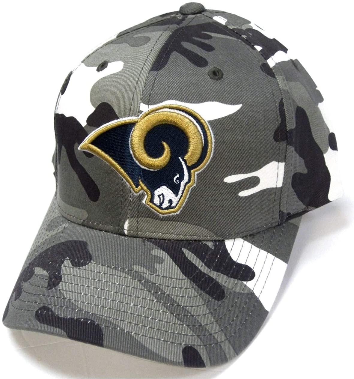 LA Rams Team Apparel Gray White Woodland Camo Hat Cap Adult Men's Adjustable