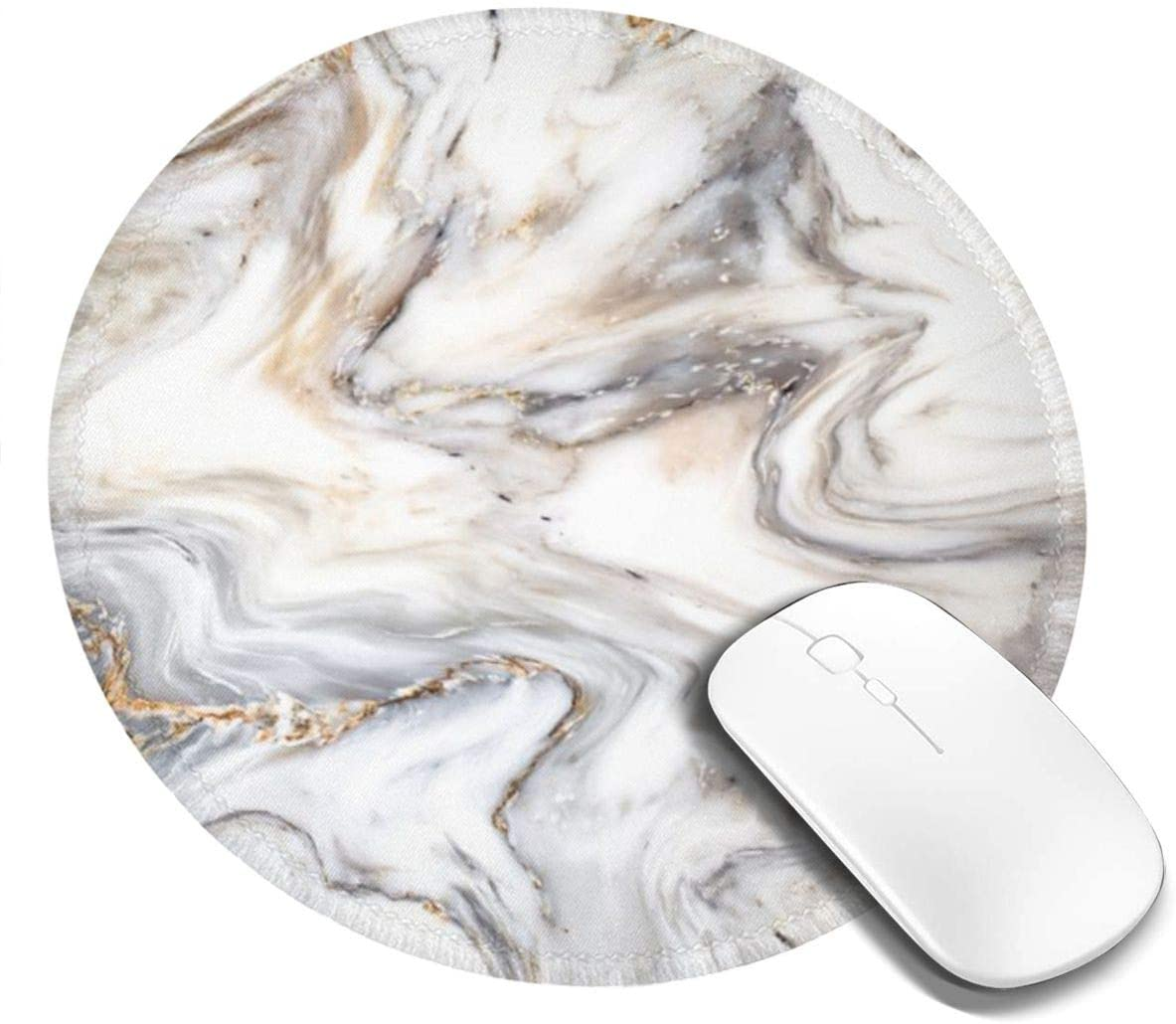 Abstract Marble Ink Texture Office Round Mouse Pad Non-Slip Rubber Base Mouse Mat for Laptop Computers Gaming Mousepad 7.9x7.9 Inch