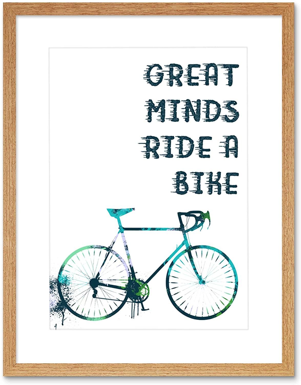Wee Blue Coo Great Minds Ride A Bike Paint Splat Artwork Framed Wall Art Print 9X7 Inch