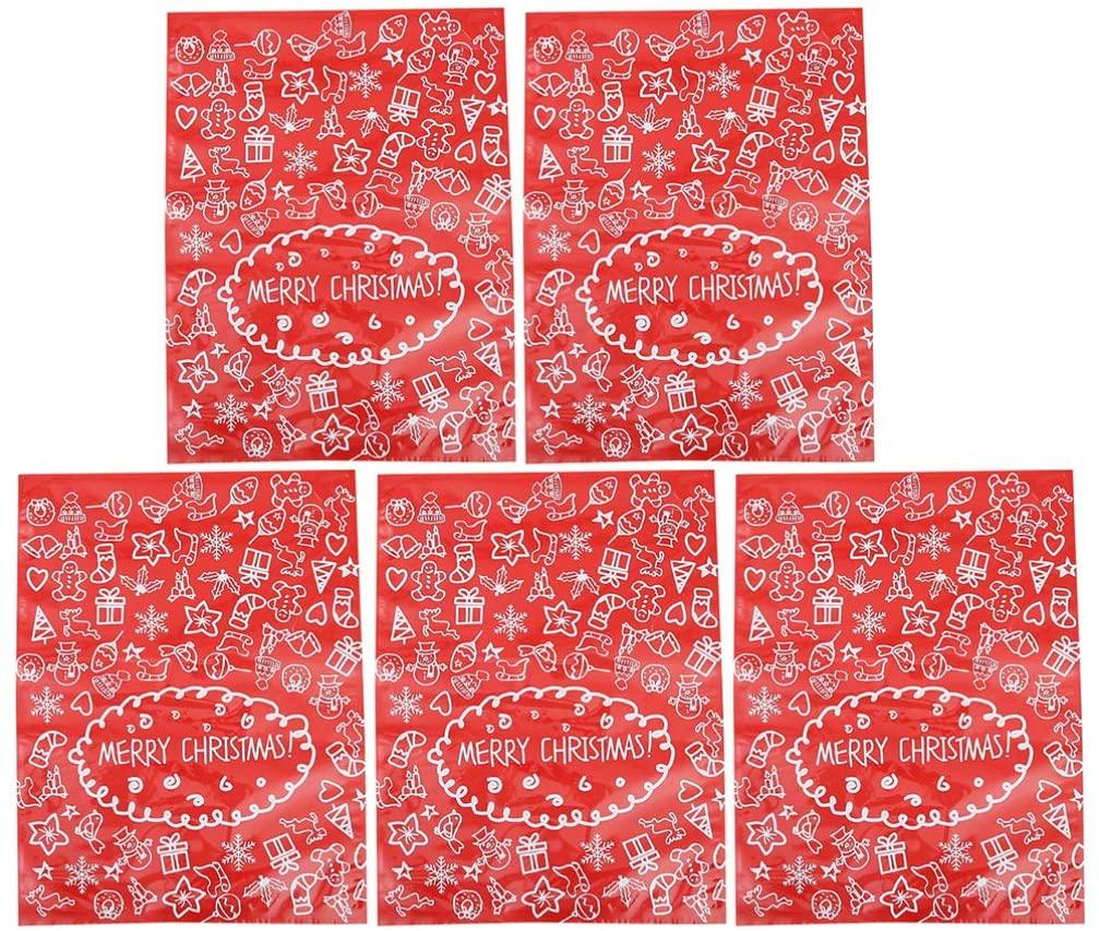Hemoton 5pcs Large Gift Bags for Christmas Xmas Present Jumbo Large Gift Bags Wrapping Plastic Giant Gift Bags for Gifts Big Gift Sack 51X39CM