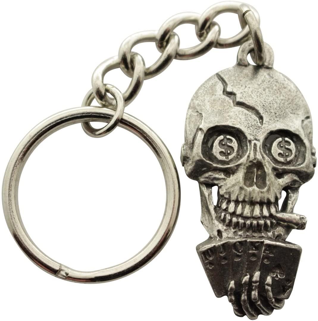 Sarah's Treats & Treasures Poker Playing Skull Keychain ~ Antiqued Pewter ~ Keychain
