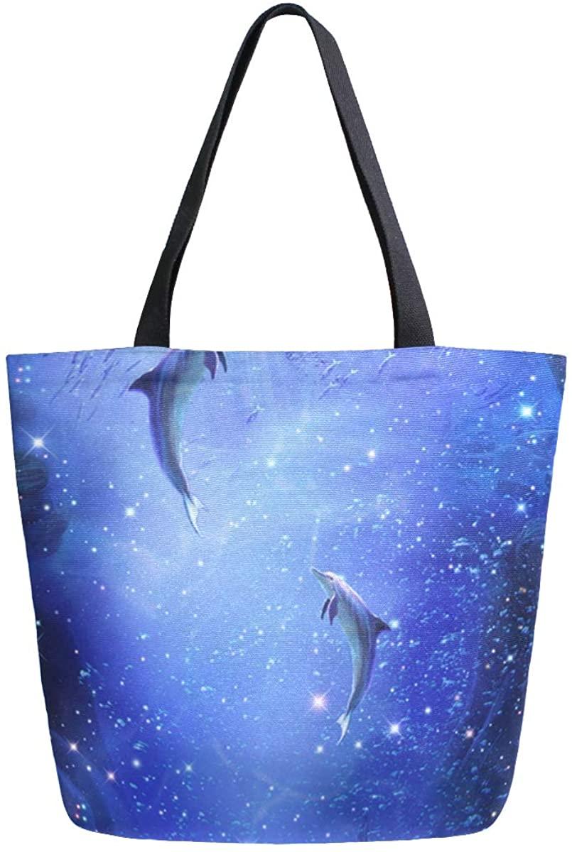 Women's Tote Bag Top Handle Handbags Shoulder Tote Bag Dolphin Tote Washed Canvas Purses Bag
