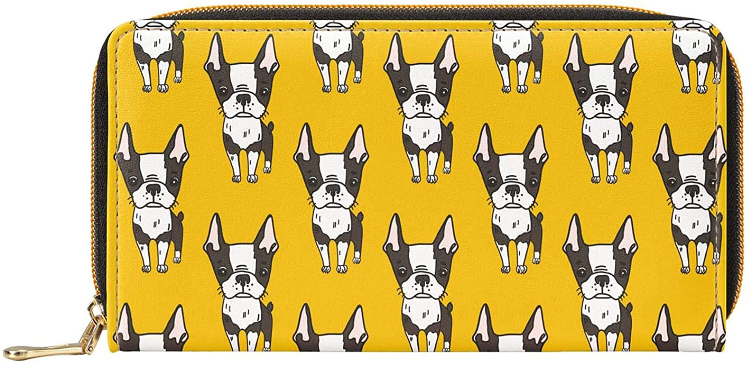 Womens Wallet Boston Terrier With Pink Stripes Long Leather Clutch Purses For Credit Card Cash Phone